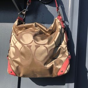 Coach Carly Signature Sateen Khaki/Pink Large